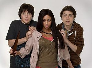 My Babysitter's a Vampire (TV series) - (Left to right) Matthew Knight as Ethan, Vanessa Morgan as Sarah, and Atticus Mitchell as Benny