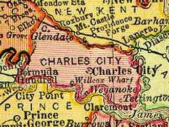 Charles City County, Virginia - Charles City County, Virginia from 1895 state map