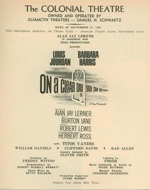 Louis Jourdan - Credit page from Playbill for Boston tryout of On a Clear Day You Can See Forever (1965)