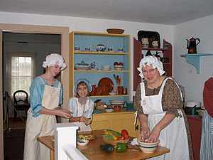 Buffalo Niagara Heritage Village - Cooks hard at work in the kitchen at Elliott House.