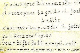 Decapoint - A sample of decapoint. The relative efficiency of braille can be seen, as the line at the bottom is the braille transcription for the first two lines of decapoint: je vous prie de commander une planche pour la grille ci-jointe
