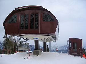 Doppelmayr USA - A Doppelmayr CTEC Uni-GS model Detachable Chairlift at Spanish Peaks, Montana, built in 2005.