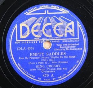 """Empty Saddles (song) - Record label for Bing Crosby's 1936 Decca recording of """"Empty Saddles"""""""