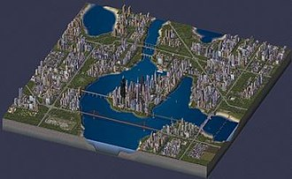 SimCity 4 - A densely populated city including third-party modifications