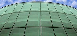 Thomas R. Kline School of Law - The front glass panels of the School of Law building