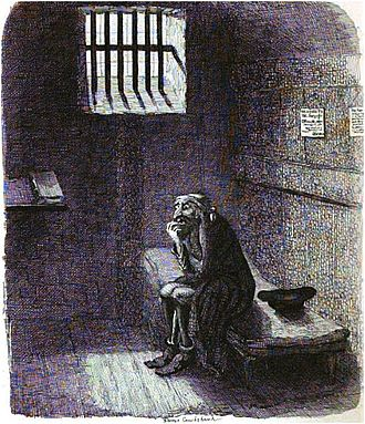 Racism in the work of Charles Dickens - Fagin waits to be hanged.