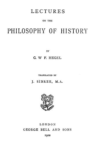 Lectures on the Philosophy of History - Title page of the 1902 edition of John Sibree's translation