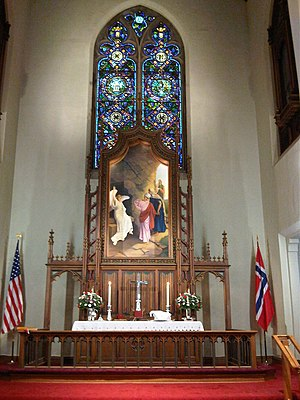 Norwegian diaspora -  Altar of  Mindekirken Norwegian Lutheran Church in Minneapolis, MN