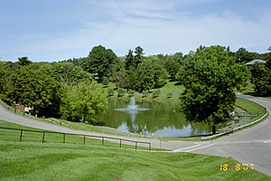 Muskingum University - Muskingum's campus lake and surrounding hills