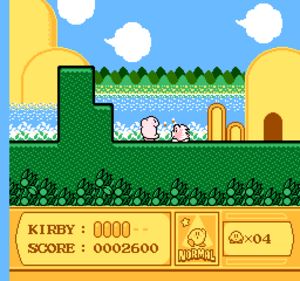 Kirby's Adventure - Kirby inhaling an enemy