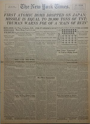 William L. Laurence - A front page copy of The New York Times city edition dated August 7, 1945 featuring the atomic bombing of Hiroshima, Japan.