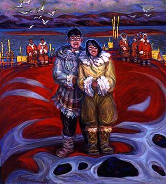 Chukchi people - Newlyweds Meet the Sun. Painting of Chukchi by Nikolai Getman