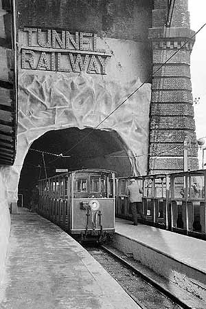 Tunnel Railway - Trains at the lower station, immediately outside the tunnel entrance