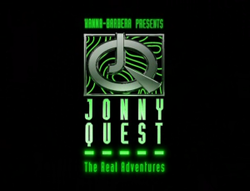 """HANNA-BARBERA PRESENTS"", large ""JQ"" logo, ""JONNY QUEST"" in large letters, ""The Real Adventures"""