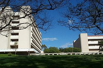 University of California, Irvine academics - A picture of the School of Social Sciences from Aldrich Park.