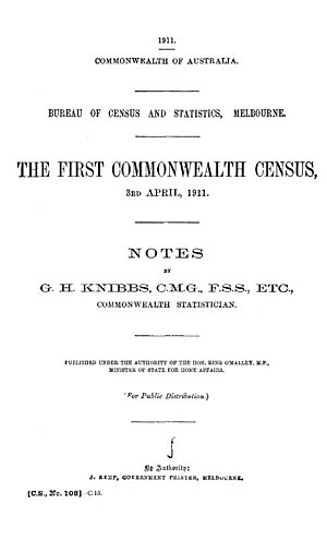 1911 Australian census - Image: The First Commonwealth Census 1911 First page