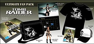 The contents of the Tomb Raider: Underworld Ultimate Fan Pack. Tomb Raider Underworld Fan Pack Contents.jpg