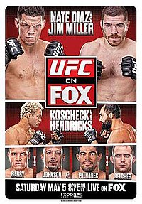 A poster or logo for UFC on Fox: Diaz vs. Miller.