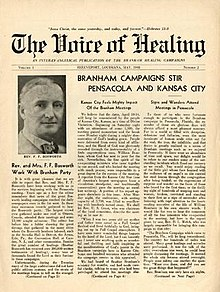 "The front page of the Voice of Healing magazine with headline stating; ""Branham Campaign stirs Pensacola and Kansas City"""