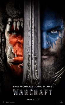 Two faces divided by a large sword, on the left an fang toothed orc with red facepaint, on the right a bearded man with blue facepaint.