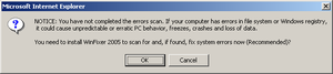 WinFixer - Initial message prior to infection - a user wishing to avoid infection might wish to disconnect from the Internet before closing the dialog box.