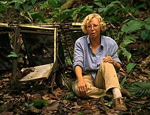 Wings of Hope (film) - Juliane Koepcke sitting on a row of seats in the jungle