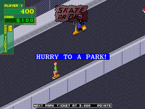 """720° - The """"Skate or Die"""" message appearing, as the player is running out of time"""