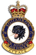 "Crest of 76 Squadron, Royal Australian Air Force, featuring a growling black panther, and the motto ""Attack"""