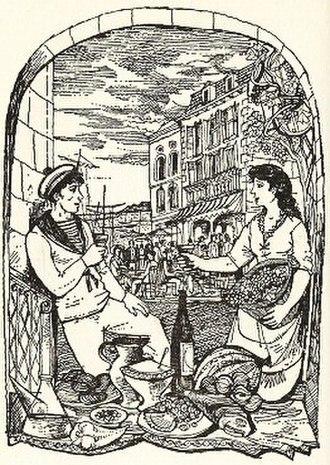 A Book of Mediterranean Food - Mediterranean port scene, drawn by John Minton for the book. Elizabeth David did not like the illustrations.