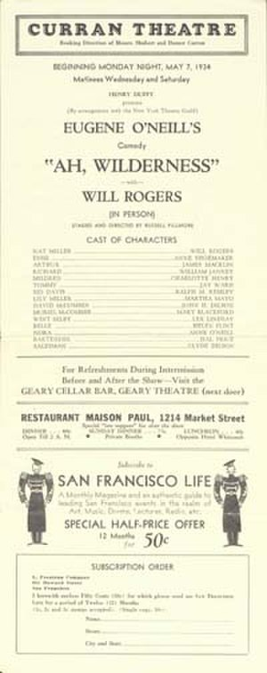 Curran Theatre - Playbill featuring Will Rogers in Eugene O'Neill's Ah, Wilderness! from 1934
