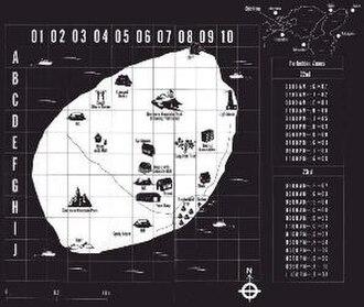 Battle Royale (novel) - Map of Okishima Island, seen inside the cover of the 2003 English translation.