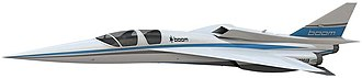 Boom Technology - A model of the XB-1 a demonstrator to the Boom Supersonic jet.
