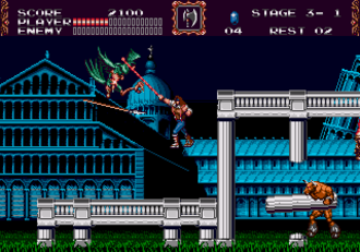 Castlevania: Bloodlines - Lecarde fighting the first miniboss, a Hellhound