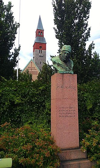 Matthias Castrén - Bust of Castrén in Kamppi, with National Museum of Finland in the background