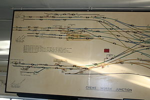 Crewe North Junction track diagram from Chester side