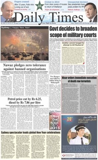 Daily Times (Pakistan) - Front Page for January 1, 2015
