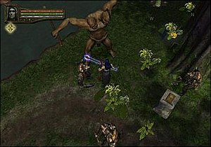 Baldur's Gate: Dark Alliance II - Gameplay in the PlayStation 2 version of Dark Alliance II, showing Ysuran fighting a two-headed troll. His health and mana meters are at the top left of the screen. The green meter between them is his experience meter. The gold icon below indicates he has acquired enough experience to level up.