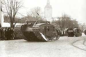 Mark V Composite tank in Estonian service - Estonian Mark V Composite tanks on the Republic's anniversary parade on 24 February 1925.