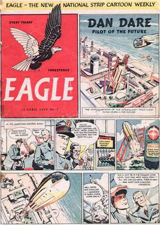 Eagle (British comics) - The front cover of the first issue of Eagle, with artwork by Frank Hampson.  Advances in printing technology offered a substantial improvement on the original issue's faded colours.  The logo was modelled on the top of a large brass inkwell owned by Marcus Morris, the comic's founder, and typography was by Berthold Wolpe, designer of the Tempest font.