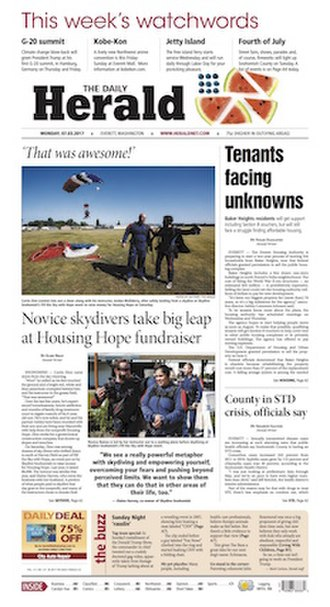 The Herald (Everett) - Image: Everett Daily Herald front page