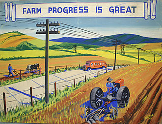 Historical Panorama of Alabama Agriculture - All the elements of this painting were included to reflect Cooperative Extension's vision for 20th century farming – mechanized farming, crop diversification and rural electrification.
