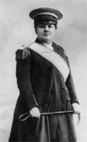 Flora Drummond - Flora Drummond in her Generals' uniform and WSPU sash