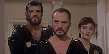 General Zod, Non (both bearded) and Ursa in the film Superman II
