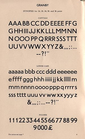 Granby (typeface) - Granby in medium weight on a specimen sheet.