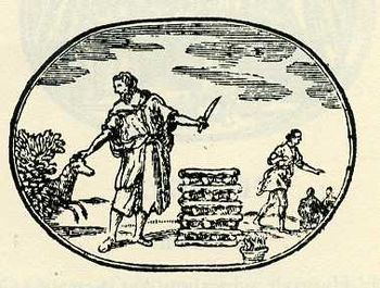 "Woodcut for ""Faith"" depicting Abraha..."