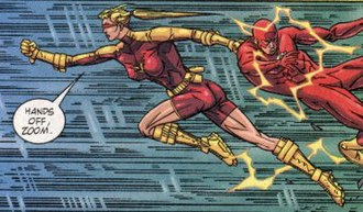 Jesse Chambers - Jesse saving Wally West during the battle with Zoom.