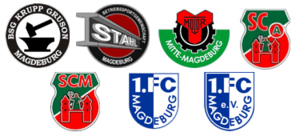 1. FC Magdeburg - Logos of Krupp Gruson Magdeburg, Stahl Magdeburg, Motor Mitte Magdeburg, SC Aufbau Magdeburg, SC Magdeburg, early 1.FC Magdeburg and a version used for a short time at the beginning of the 1990s
