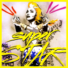 A painted image of Madonna holding can of sprays in her hand, and the song name written across a flowing text