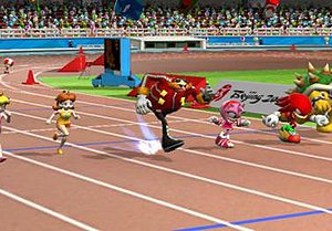 Sports game - Mario & Sonic at the Olympic Games (2007), a Wii game played by miming sports activity.