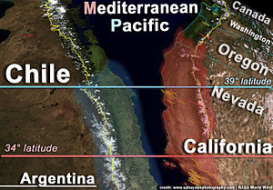 Climate of Chile - Mediterranean climate distribution in the Americas. Note that the map of Chile is turned upsidedown